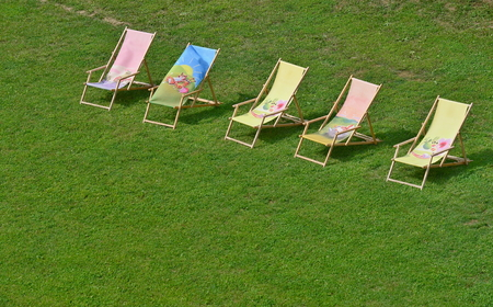 soothe: relaxing chairs on the lawn, southern Moravia, Czech Republic Stock Photo