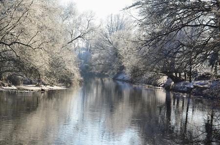 Nezarka river, winter 2016, South Bohemia, Czech Republic Stock Photo