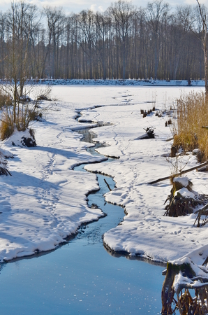 Flowing water in a winter landscape, South Bohemia, Czech Republic Stock Photo