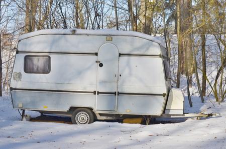 old caravan in the winter, South Bohemia, Czech Republic