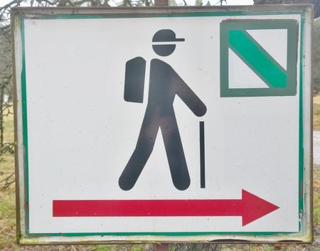 tourist signposting, metal sign. South Bohemia, Czech Republic
