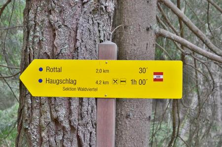 view of tourist signposting, Niederösterreich, state Austria