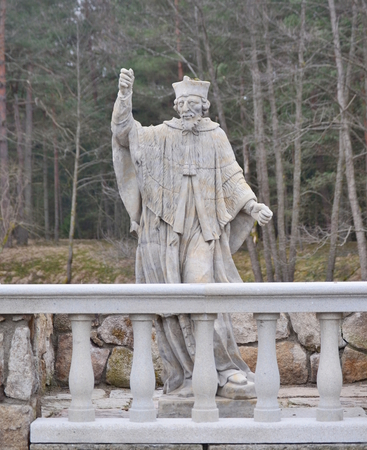 sculpture, Communists destroyed the village of New Mills, South Bohemia, Czech Republic Stock Photo