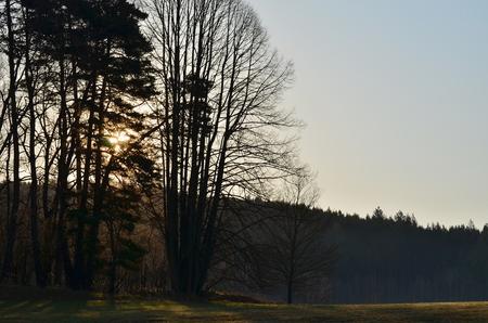 view of mystical sunrise, South Bohemia, Czech Republic Stock Photo