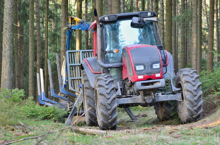 tractor adapted to work in the woods, south Bohemia, Czech Republic Stock Photo