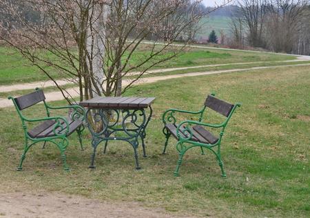 view of historic metal garden furniture, Austria