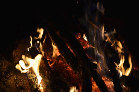 hot coals in an outdoor fireplace. South Bohemia Reklamní fotografie