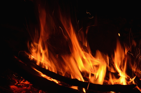outdoor fireplace: hot coals in an outdoor fireplace. South Bohemia Stock Photo