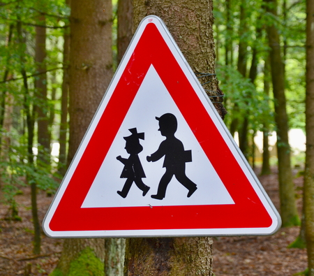 traffic sign watch children, South Bohemia, Czech Republic