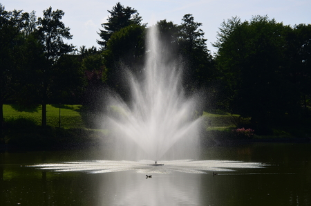 view of fountain, spa park, Kudowa Zdroj, Poland