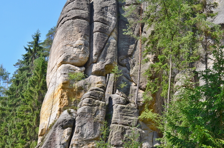 rock formations, Adrspach-Teplice National Nature Reserve, Czech Republic Stock Photo
