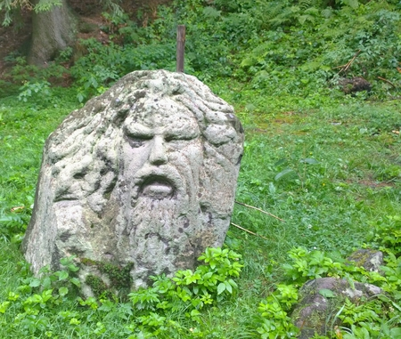 man head made of stone, South Bohemia, Czech Republic