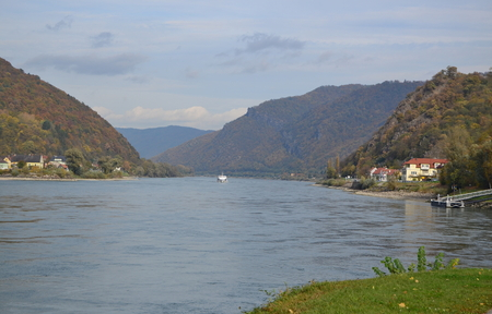 view of the Danube River, region Wachau, Austria Stock Photo