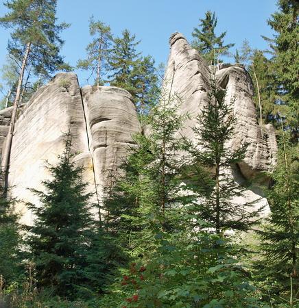 skalní útvary, Národní přírodní rezervace Adršpač-Teplice, Česká republika Reklamní fotografie - 90097923