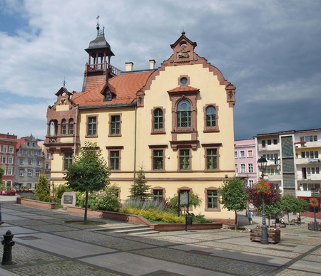 historical building of the Town Hall, Nowa Ruda, Poland Reklamní fotografie - 90641218
