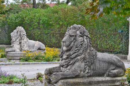 statues of lions, the entrance to the castle, the town of Horn, Austria Redakční