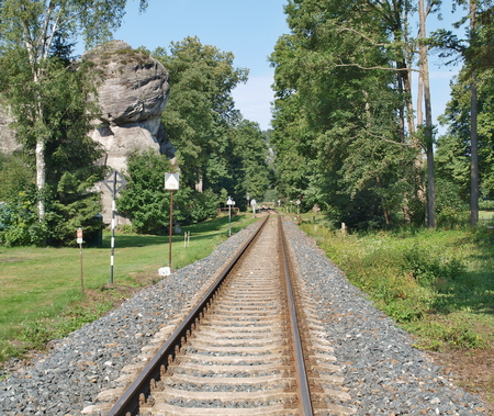 railway line near the National Nature Reserve Adrspach-Teplice Rocks, Eastern Bohemia, Czech Republic Reklamní fotografie - 92130860