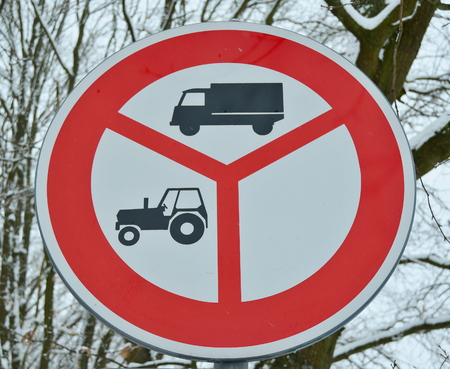Traffic sign, no entry for tractors and trucks, South Bohemia, Czech Republic