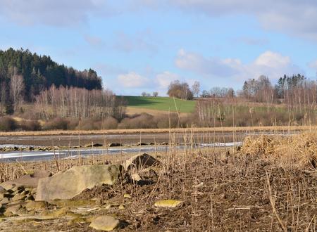 view of winter landscape, South Bohemia, Czech Republic
