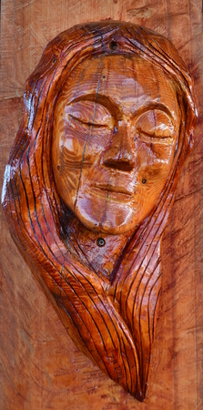 womans head made of wood, South Bohemia, Czech Republic