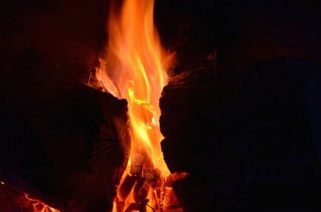 hot coals in an outdoor fireplace. South Bohemia Stock Photo