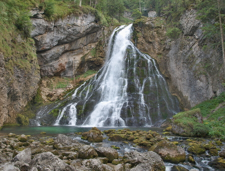 Beautiful Golling waterfall, near Golling and Salzburg medieval town at summer in Austria Reklamní fotografie - 108457265
