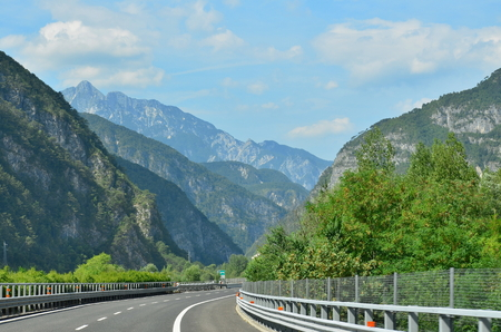 the A23 motorway runs through the Alps, Italy Reklamní fotografie - 108826326