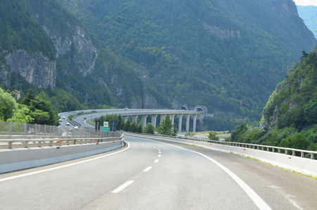 the A23 motorway runs through the Alps, Italy Reklamní fotografie