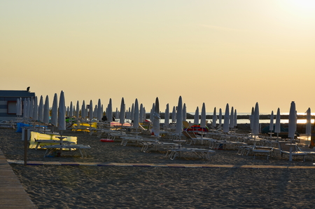 morning sea ​​tourist beach, Eraclea Mare, Italy Reklamní fotografie - 110394061