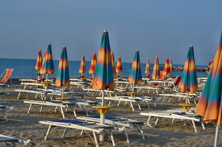 morning sea tourist beach, Eraclea Mare, Italy Reklamní fotografie - 110991496