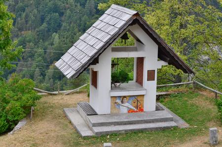 view of chapel, Triglav National Park, Alps, Slovenia Reklamní fotografie - 110991497