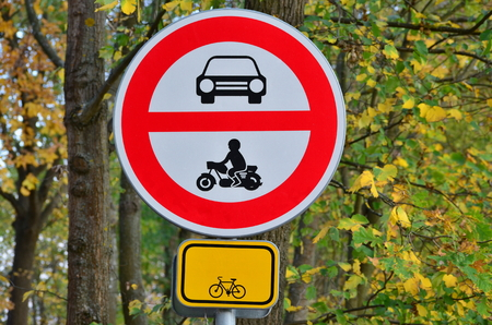 Traffic sign, the forbidden entrance of all motorized vehicles, bike trail, South Bohemia, Czech Republic