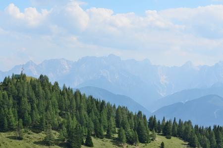 Gailtal Alps, view from the hiking trail on the mountain Dobratsch, Carinthia, Austria Stock Photo