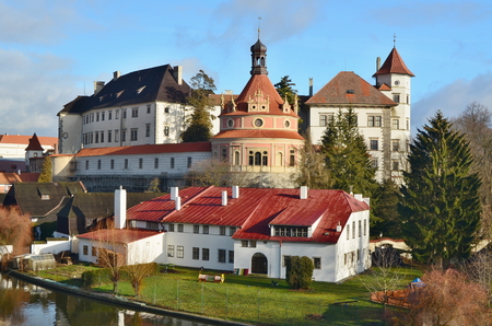 the historical castle complex, the town of Jindrichuv Hradec, the southern Bohemia, the Czech Republic Redakční