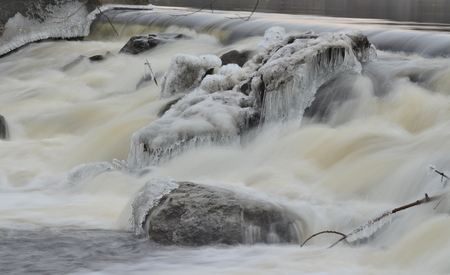 rapidly flowing water, South Bohemia, Czech Republic Stock Photo