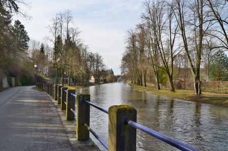 river Nezarka, street Pod Vrchy, town Jindrichuv Hradec, South Bohemia, Czech Republic Reklamní fotografie