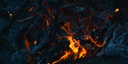hot coals in an outdoor fireplace. South Bohemia, Czech Republic