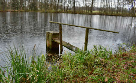 The equipment for draining water from the lake, south Bohemia, Czech Republic