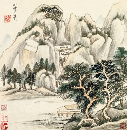 ming: Ming Dong Qichang antique landscape painting