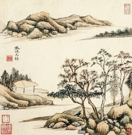dong: Ming Dong Qichang antique landscape painting