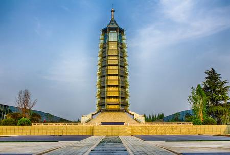 Nanjing Dabaoen Temple Ruins Park glass tower at night
