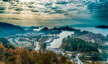 항주 Qiandao 호수 풍경 스톡 콘텐츠
