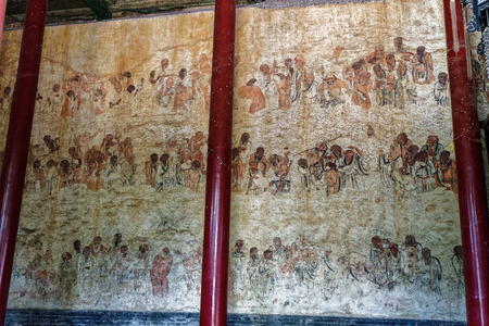 cloister: Shaolin Temple at Henan, Dengfeng, Songshan. Editorial