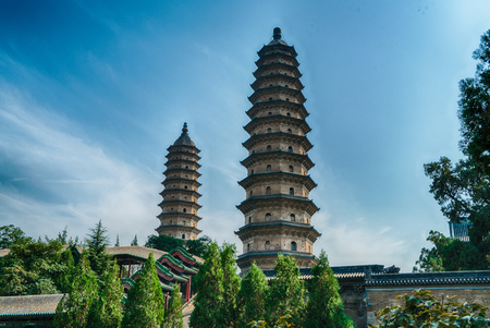 Twin Towers temple in Taiyuan, Shanxi 스톡 콘텐츠