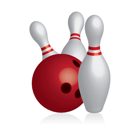 3D pins and bowling ball icon.