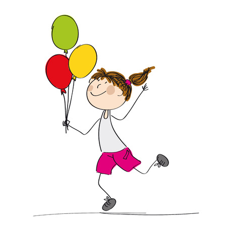 Girl holding colorful balloons icon. Illustration