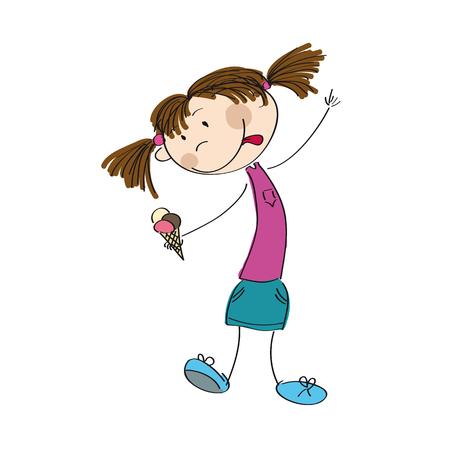 sun cream: Little girl holding an ice cream icon.