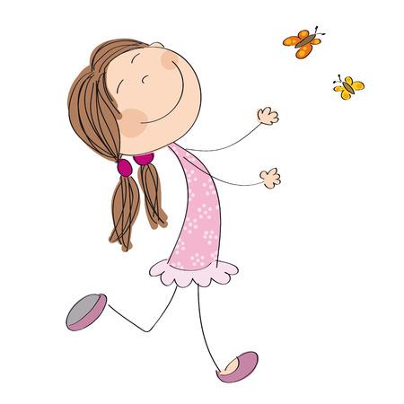 Happy little girl icon. Illustration