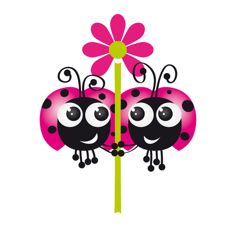Two ladybugs in love holding flower together - original funny illustration Illustration