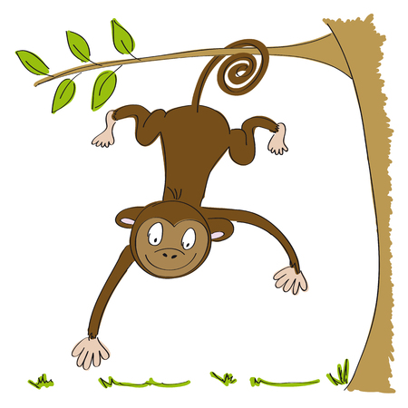baby playing toy: Monkey hanging from the tree icon.